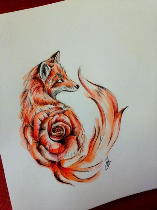 Эскиз на тату лисичка